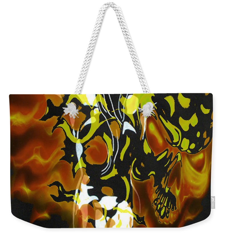 Lovers Paintings Weekender Tote Bag featuring the digital art Moon Bath With Burning Skull by Mayhem Mediums