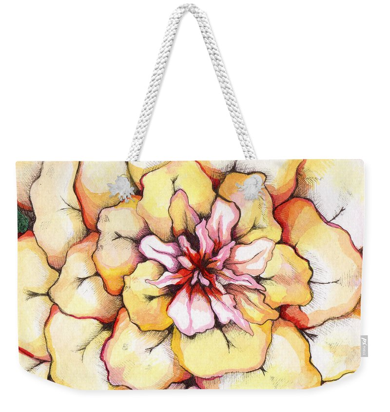 Bloomers Weekender Tote Bag featuring the painting Moon Flower Out Of The Bloomers And Onto The Bloom by Shadia Derbyshire