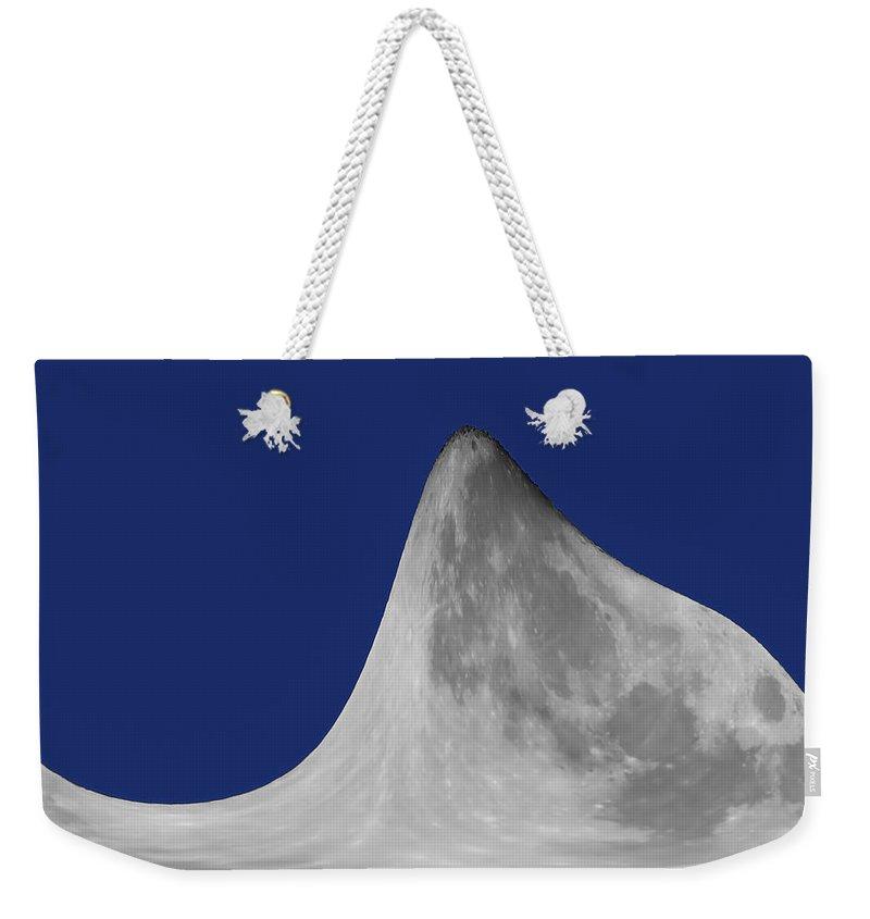 Moon Mountain Weekender Tote Bag featuring the digital art Moon Mountain by Ernie Echols