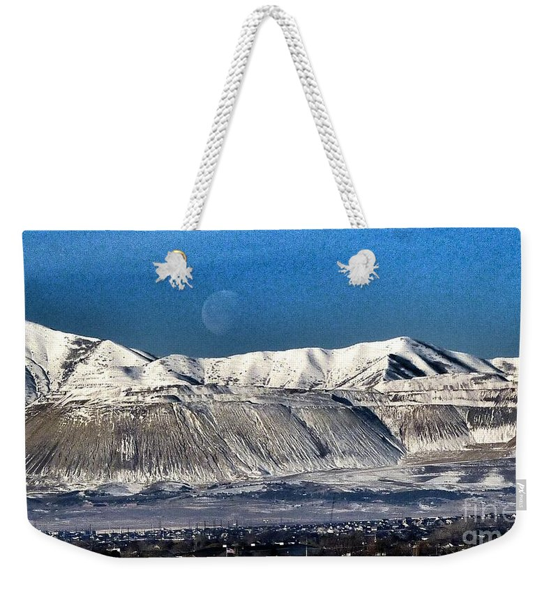 Moon Over Snow Covered Utah Mountains Weekender Tote Bag featuring the photograph Moon Over The Snow Covered Mountains by Susan Garren