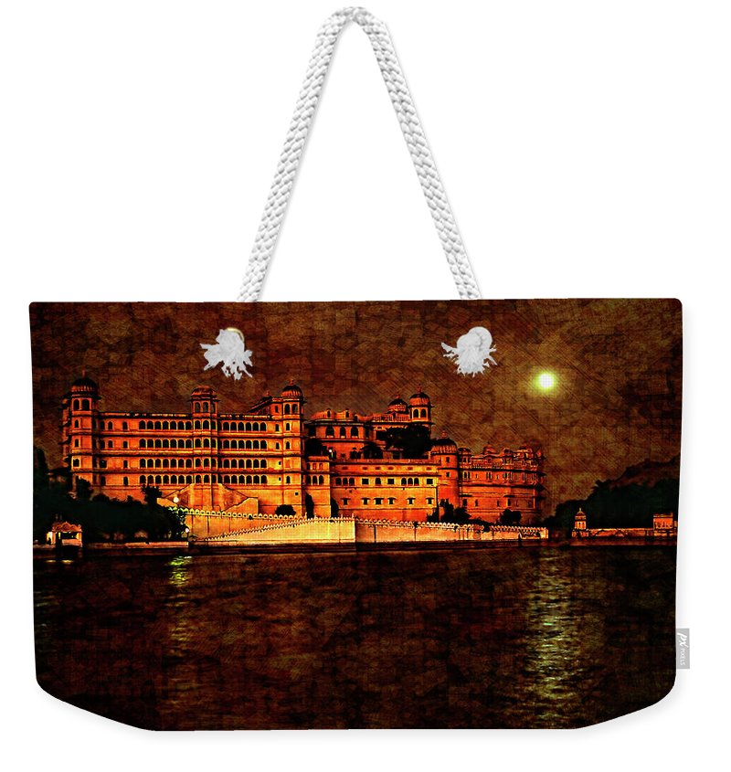India Weekender Tote Bag featuring the photograph Moon Over Udaipur Painted Version by Steve Harrington