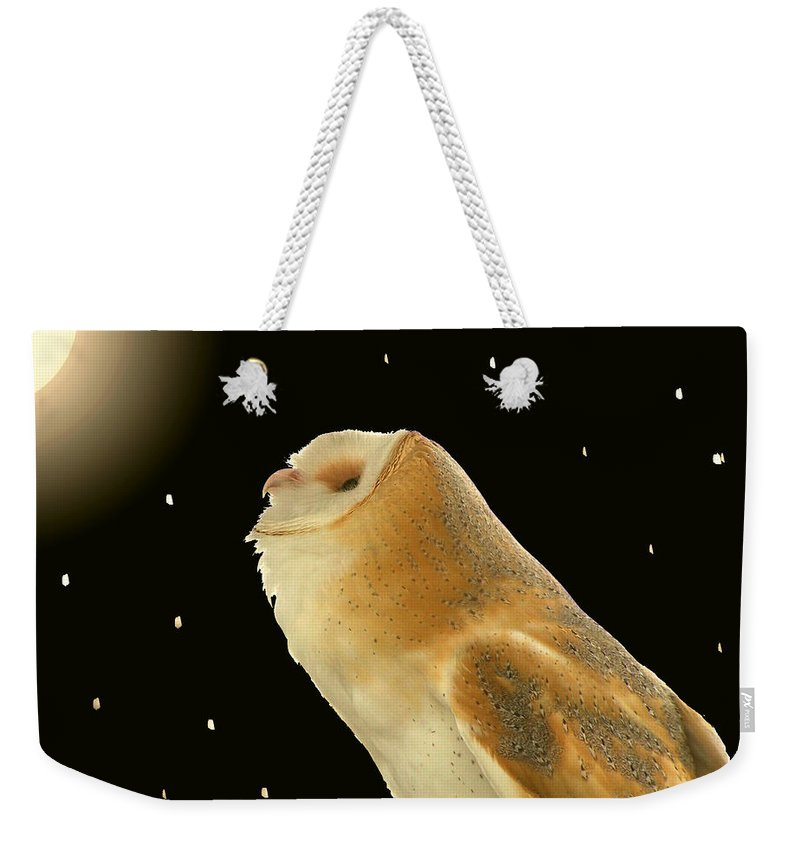 Nature Weekender Tote Bag featuring the photograph Moon Owl by Peg Urban