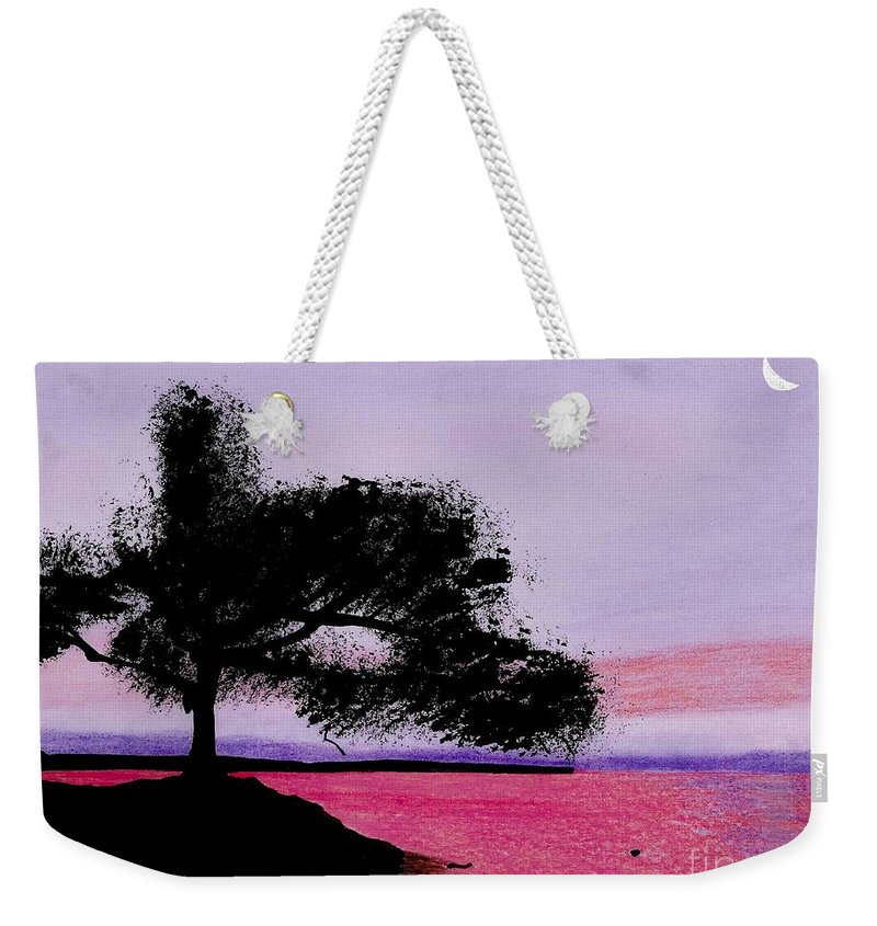Moon Weekender Tote Bag featuring the drawing Moon Rise by D Hackett