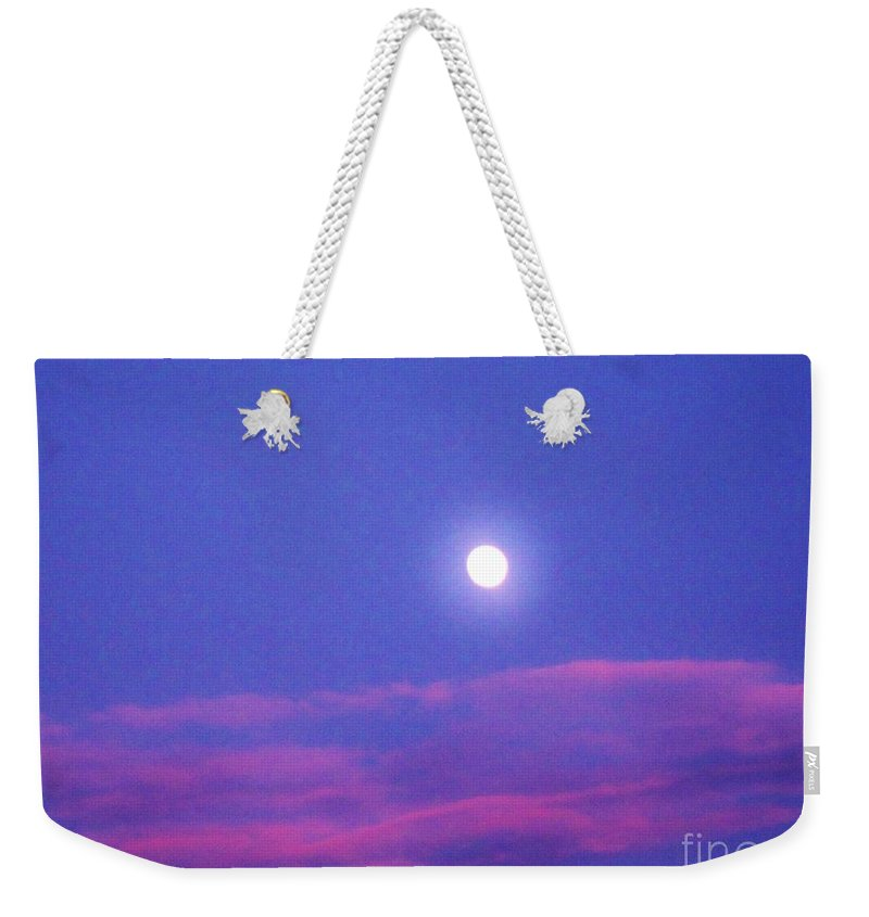 Moon Rise Weekender Tote Bag featuring the photograph Moon Rise II by Janell R Colburn