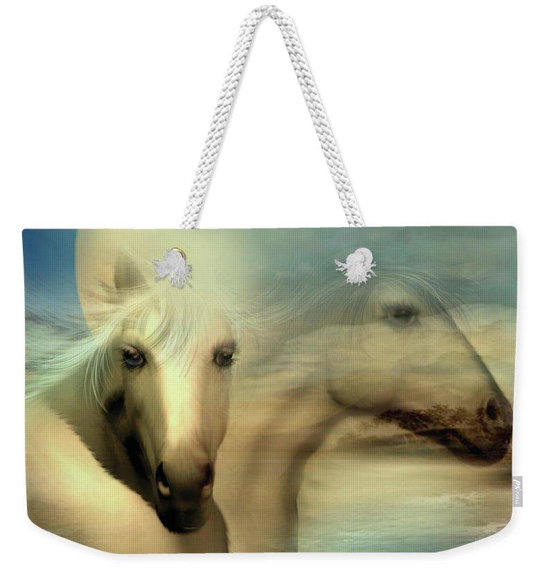 Horse Weekender Tote Bag featuring the mixed media Moon Sisters by Carol Cavalaris