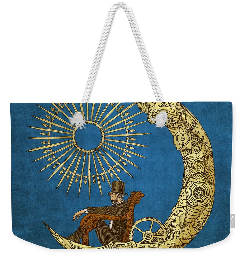 Blue Weekender Tote Bag featuring the digital art Moon Travel by Eric Fan