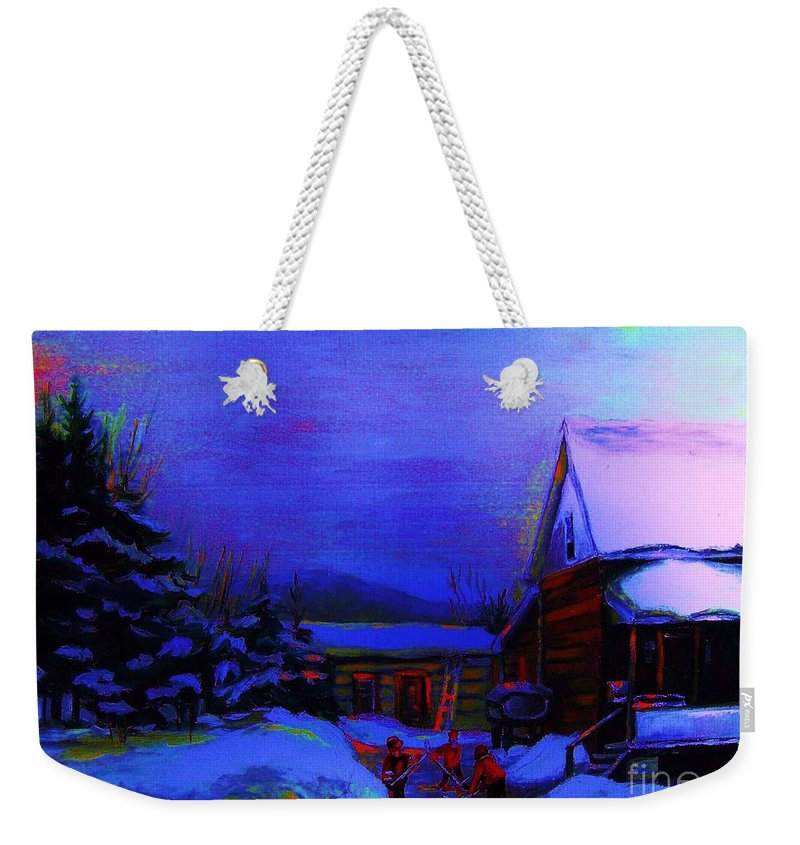 Hockey Weekender Tote Bag featuring the painting Moonglow On Powder by Carole Spandau