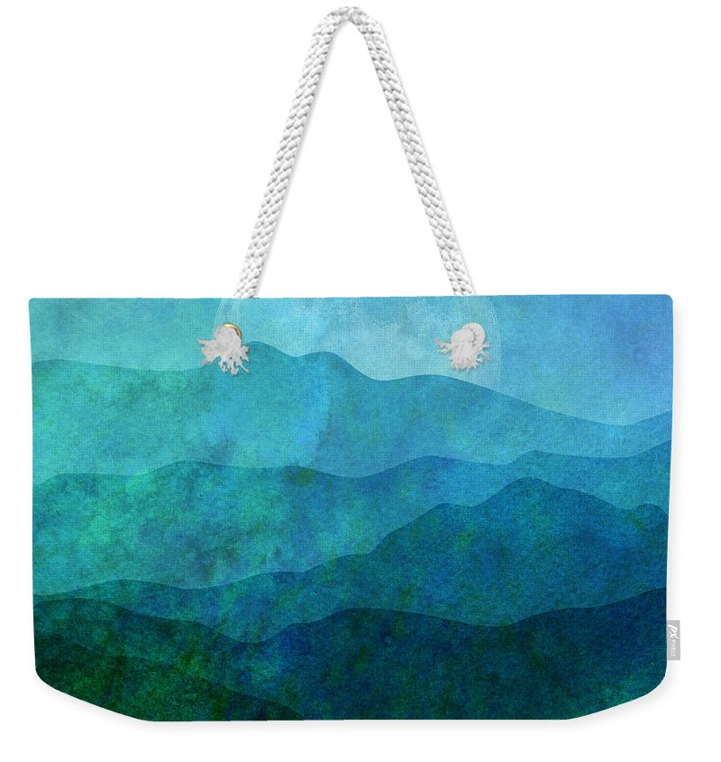 Gary Grayson Weekender Tote Bag featuring the digital art Moonlight Hills by Gary Grayson