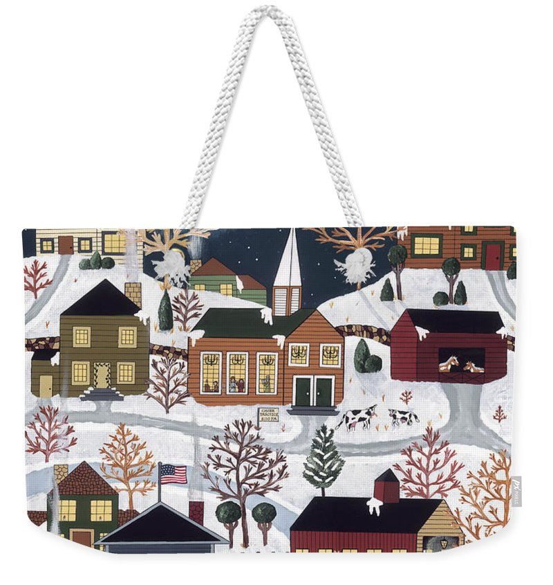 Folk Art Weekender Tote Bag featuring the painting Moonlight In Vermont by Medana Gabbard