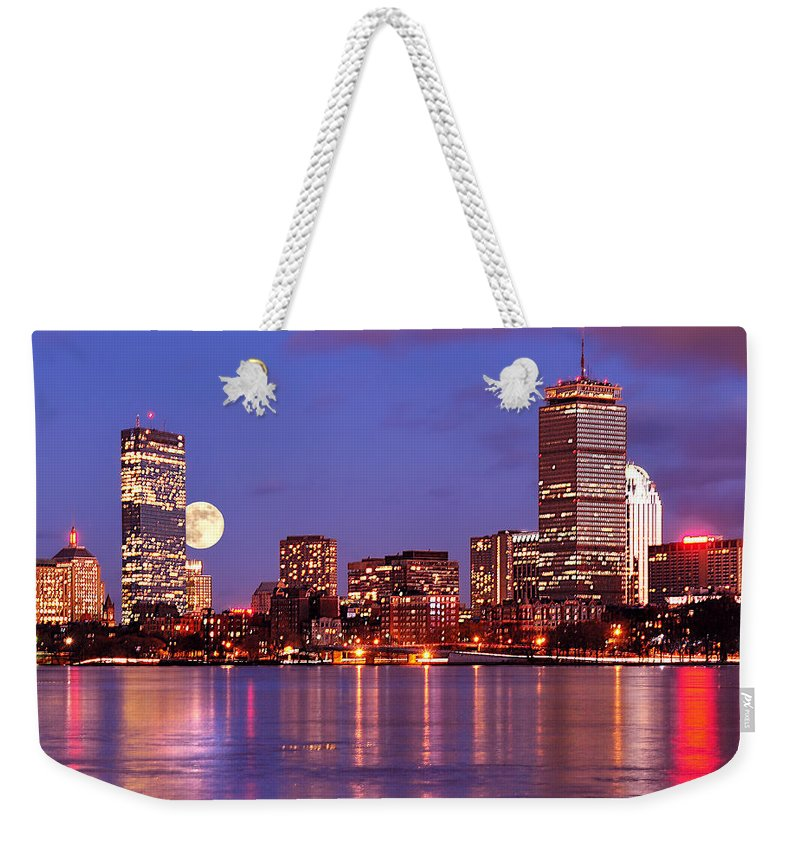 Boston Strong Weekender Tote Bag featuring the photograph Moonlit Boston On The Charles by Mitchell R Grosky