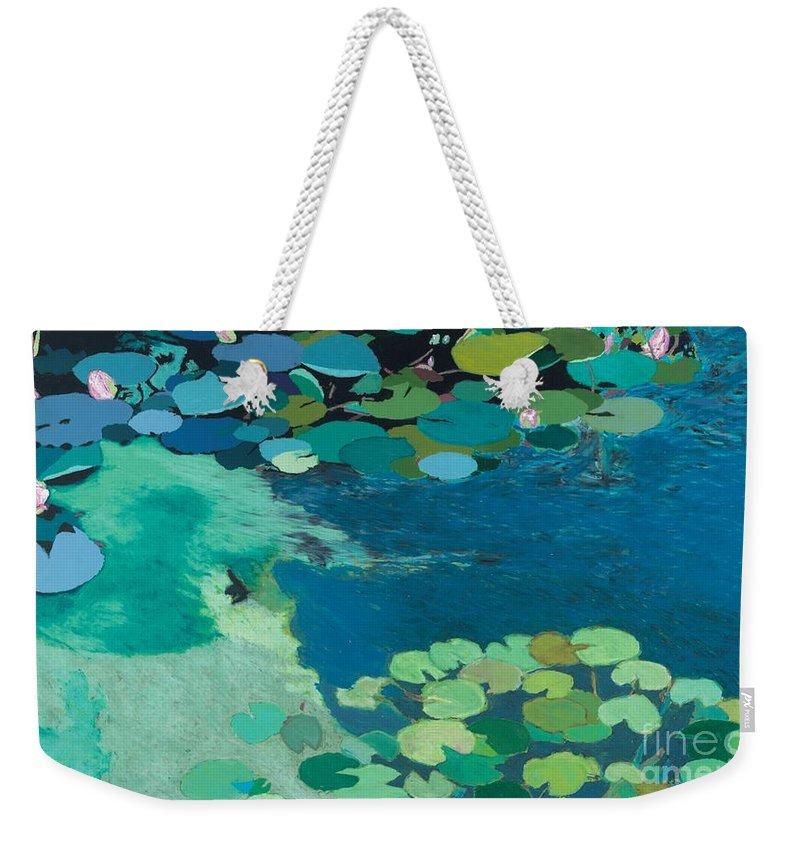 Landscape Weekender Tote Bag featuring the painting Moonlit Shadows by Allan P Friedlander