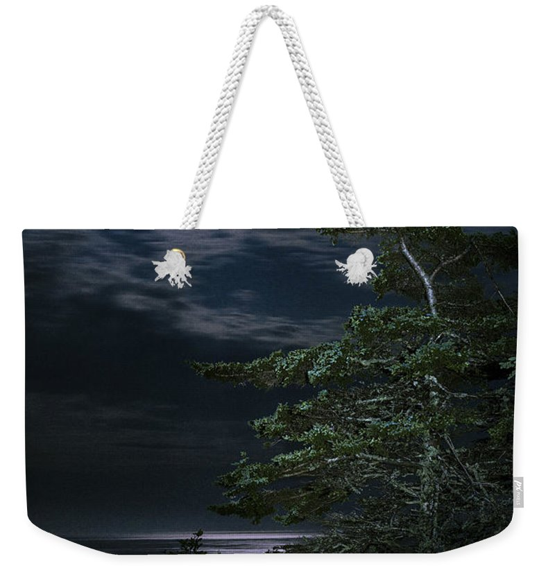 Quoddy Weekender Tote Bag featuring the photograph Moonlit Treescape by Marty Saccone
