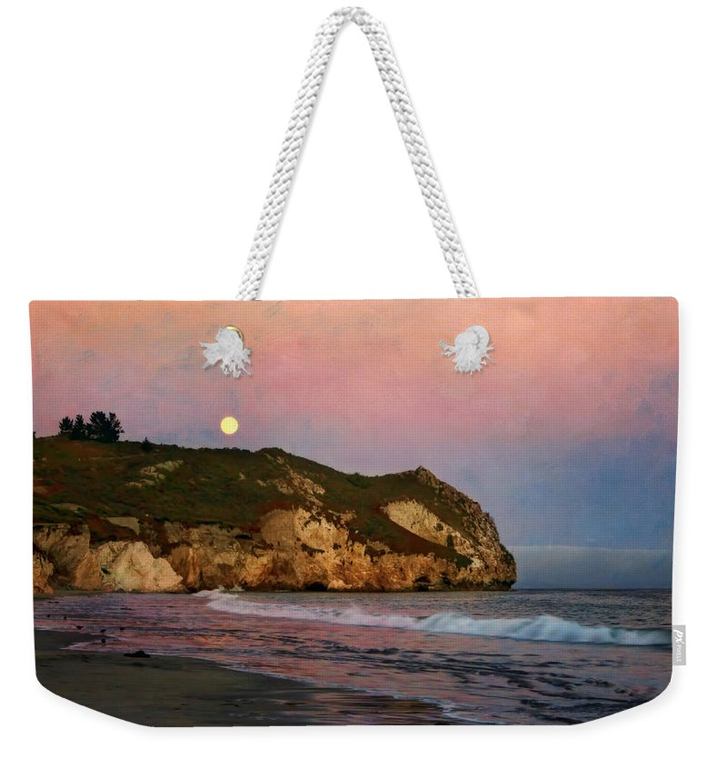 Beach Weekender Tote Bag featuring the photograph Moonrise At Avila Beach by Nikolyn McDonald