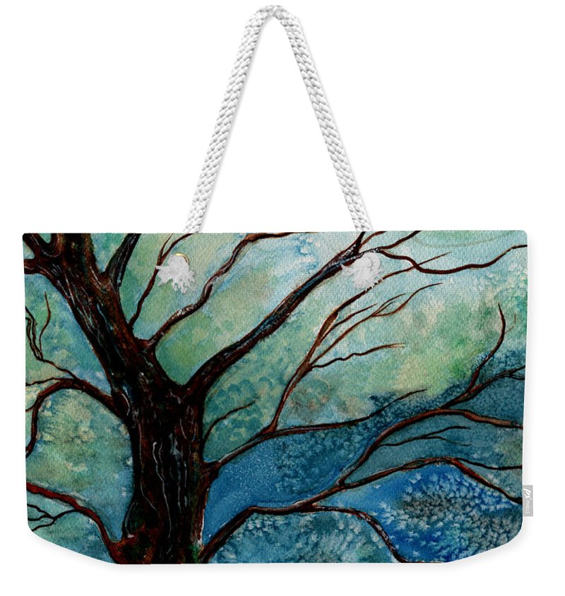 Landscape Weekender Tote Bag featuring the painting Moonrise In The Wild Night by Brenda Owen