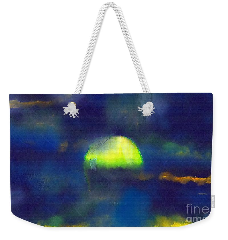Sea Weekender Tote Bag featuring the painting Moonrise Primitive by RC DeWinter