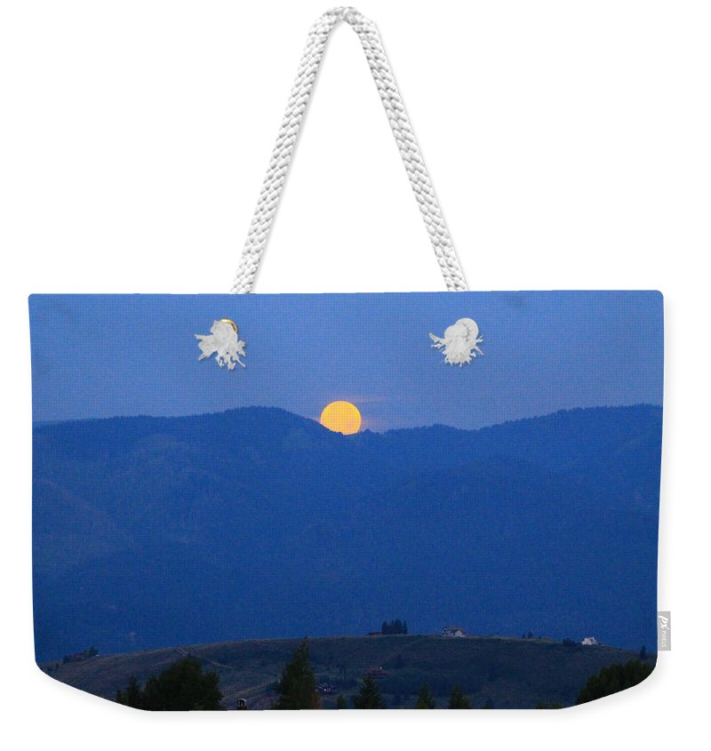 Super Moon Weekender Tote Bag featuring the photograph Moonset by Catie Canetti