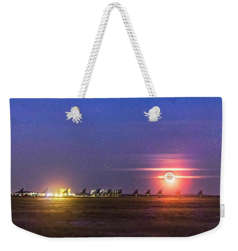 Crescent Moon Weekender Tote Bag featuring the photograph Moonset Over The Vla by Alan Dyer