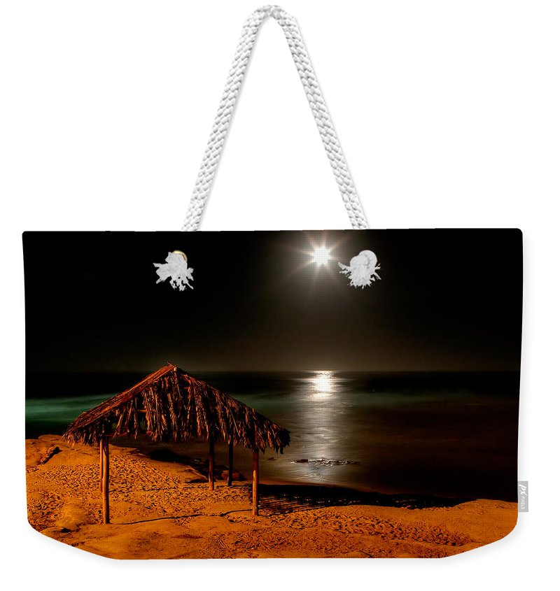 Moon Weekender Tote Bag featuring the photograph Moonset Over Windnsea by Peter Tellone
