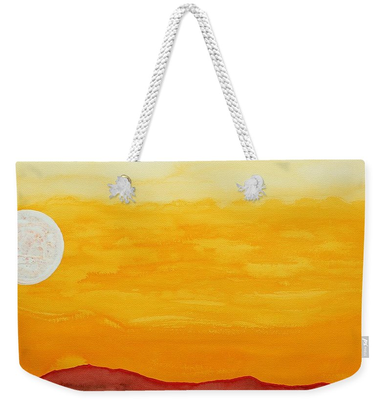 Moonrise Weekender Tote Bag featuring the painting Moonshine Original Painting Sold by Sol Luckman