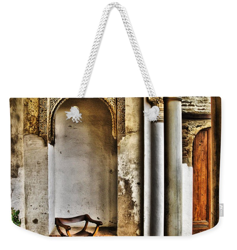 Chair Weekender Tote Bag featuring the digital art Moorish Chair And Alcove At The Alhambra by Greg Matchick
