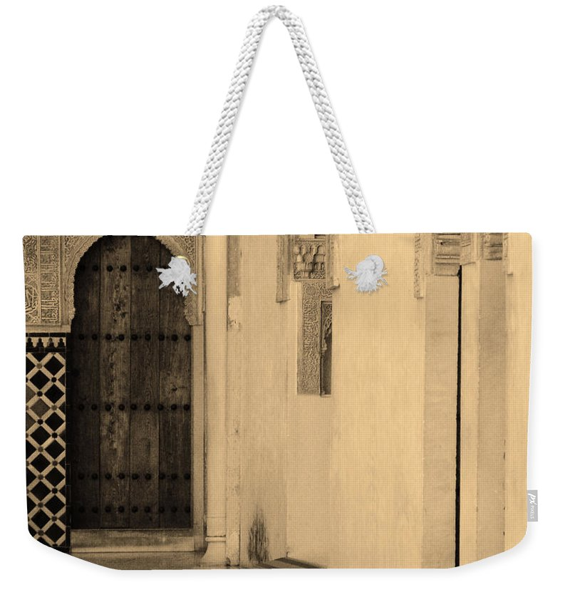 Moorish Weekender Tote Bag featuring the photograph Moorish Walkway In Sepia At The Alhambra by Greg Matchick