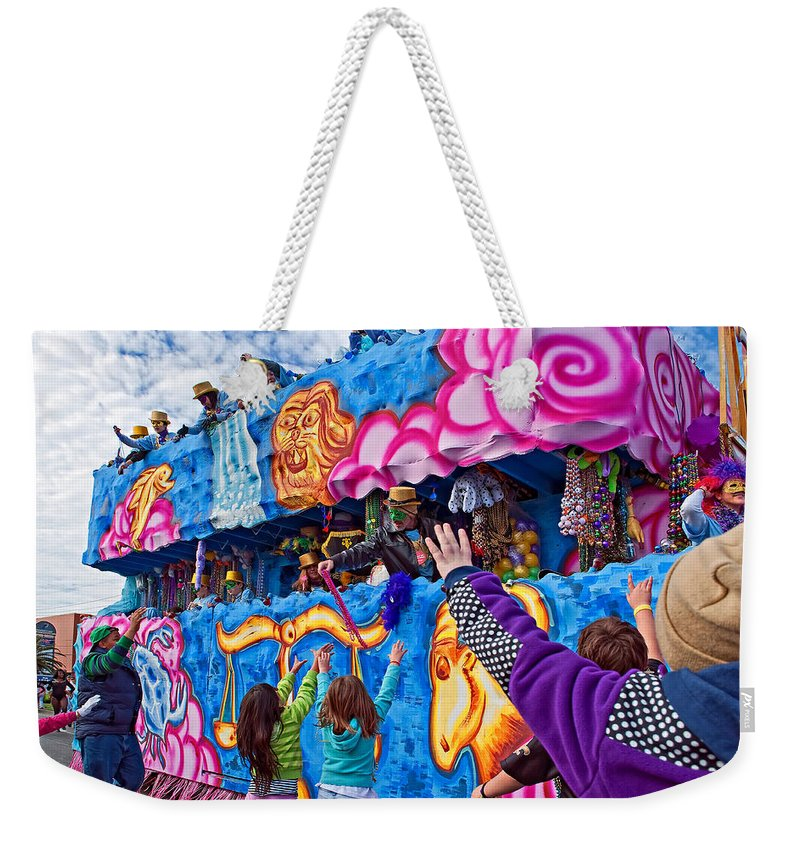 Mardi Gras Weekender Tote Bag featuring the photograph More Beads Please by Steve Harrington