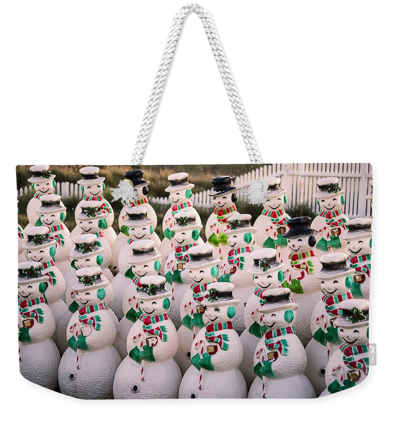 Rows Weekender Tote Bag featuring the photograph More Snowmen by Garry Gay