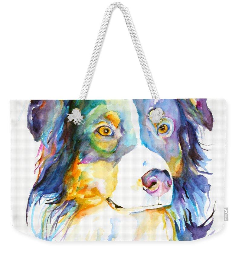 Pat Saunders-white Weekender Tote Bag featuring the painting Morgan by Pat Saunders-White