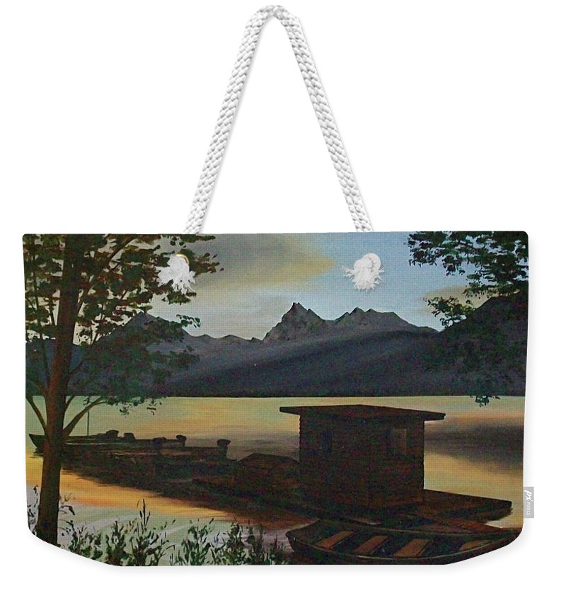 Boats Mountain Peaks Morning Sun Rays Weekender Tote Bag featuring the painting Morning At Lake Mcdonald Glacier Park by Frank Hunter
