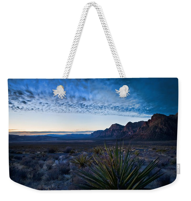 Beige Weekender Tote Bag featuring the photograph Morning At Red Rock by Evie Carrier