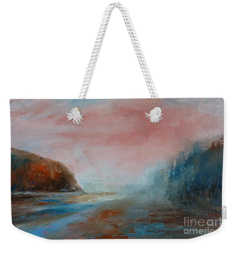Landscape Weekender Tote Bag featuring the painting Morning At The Beach by Pusita Gibbs