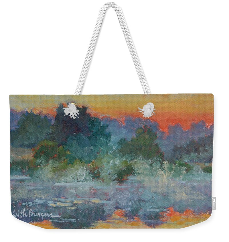 Impressionism Weekender Tote Bag featuring the painting Morning Fog by Keith Burgess
