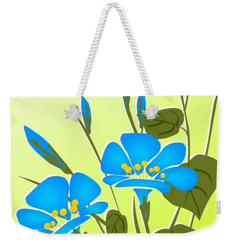 Plant Weekender Tote Bag featuring the digital art Morning Glory by Anastasiya Malakhova