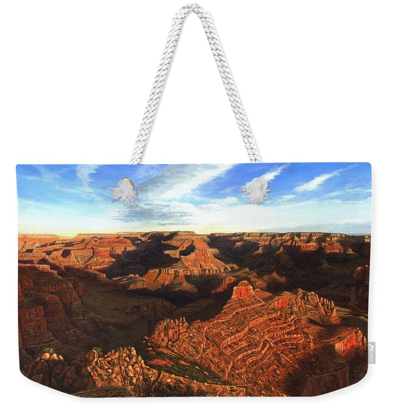 Grand Canyon Weekender Tote Bag featuring the painting Morning Glory - The Grand Canyon From Kaibab Trail by Richard Harpum