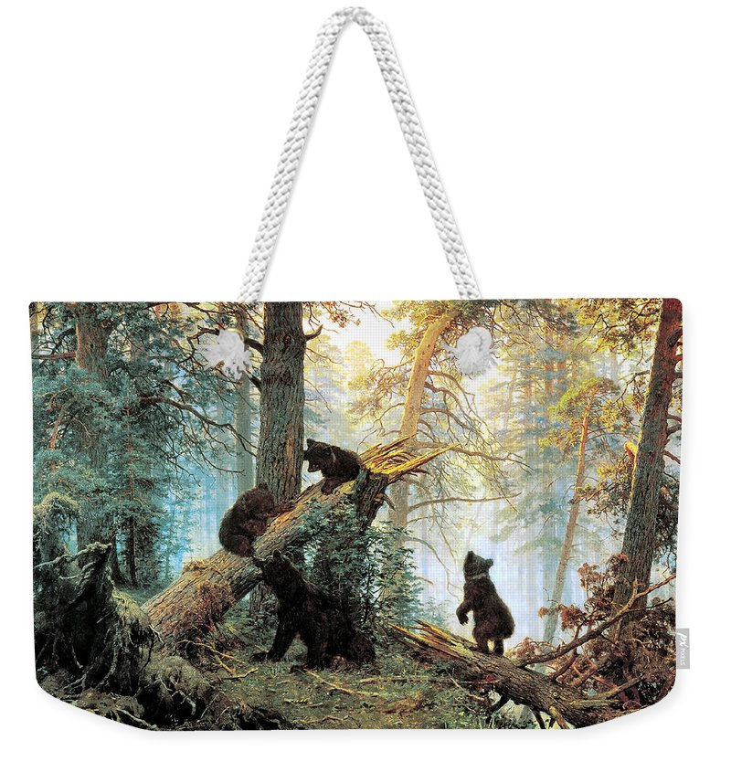 Morning In A Pine Forest Weekender Tote Bag featuring the digital art Morning In A Pine Forest by Ivan Shishkin