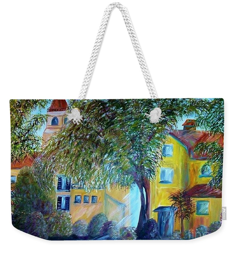 Tuscan Weekender Tote Bag featuring the painting Morning In Tuscany by Eloise Schneider Mote