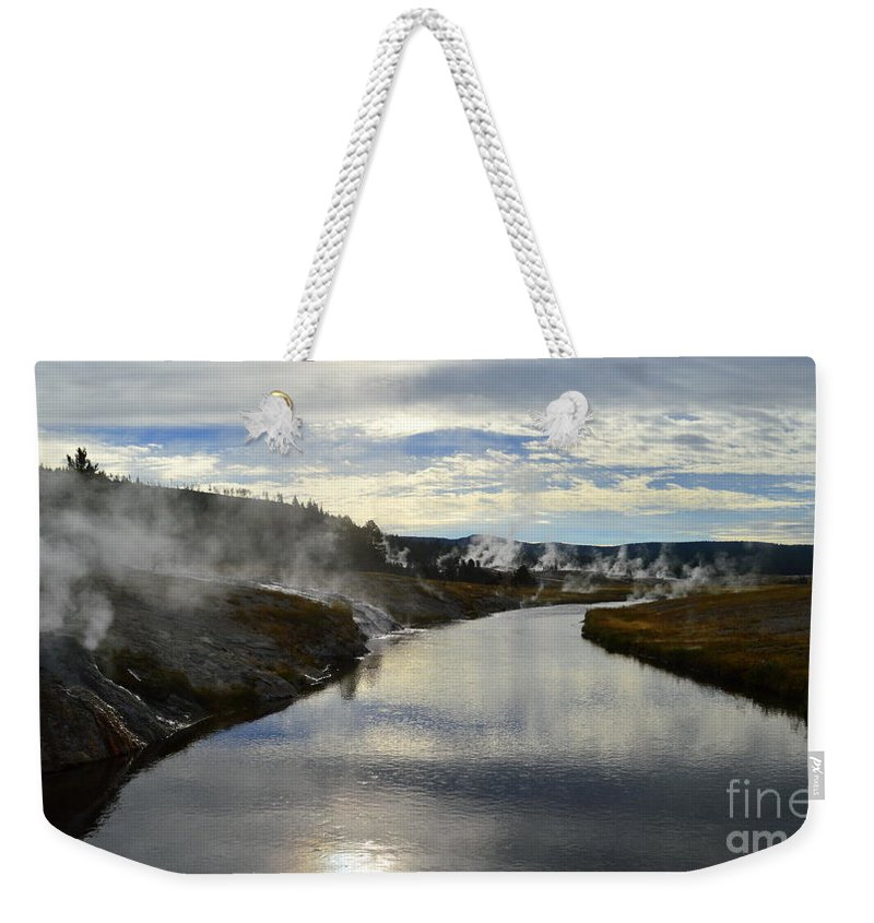 Yellowstone National Park Weekender Tote Bag featuring the photograph Morning In Upper Geyser Basin In Yellowstone National Park by Catherine Sherman