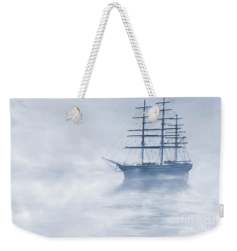 Sailing Ship Weekender Tote Bag featuring the painting Morning Mists Cyanotype by John Edwards