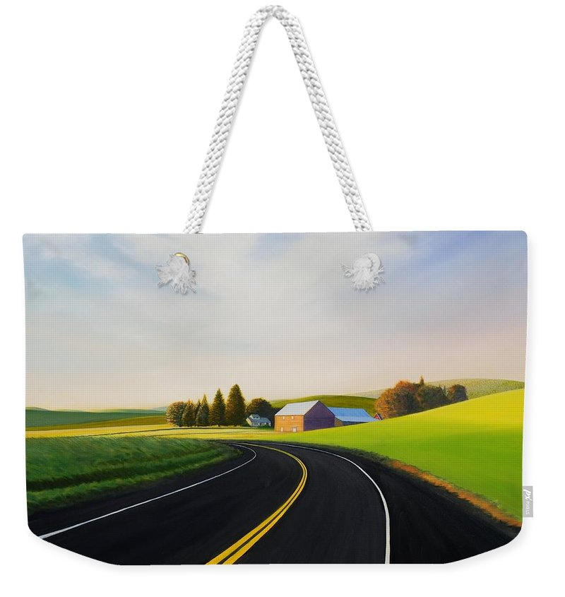 Barn Weekender Tote Bag featuring the painting Morning near Rosalia by Leonard Heid