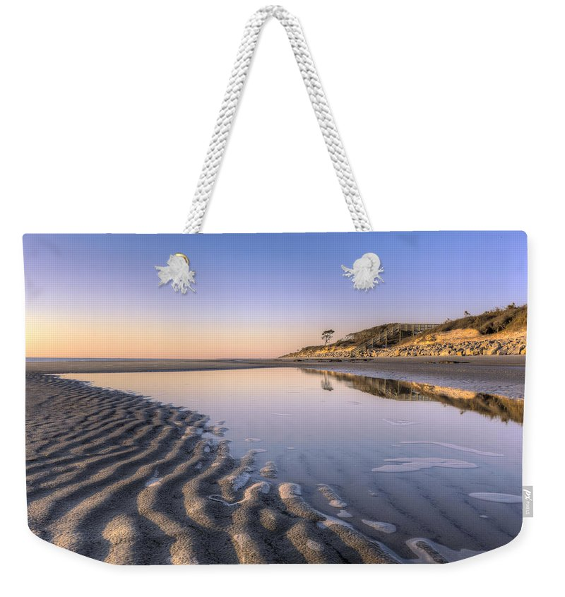 Clouds Weekender Tote Bag featuring the photograph Morning On Jekyll Island by Debra and Dave Vanderlaan