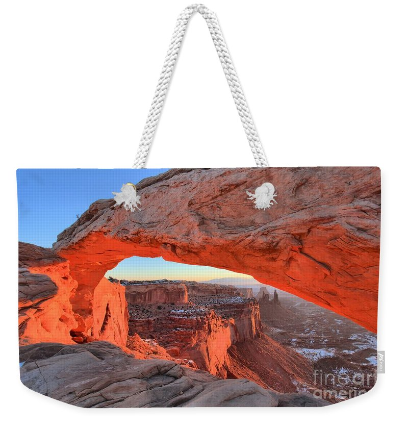Mesa Arch Sunrise Weekender Tote Bag featuring the photograph Morning Paint by Adam Jewell