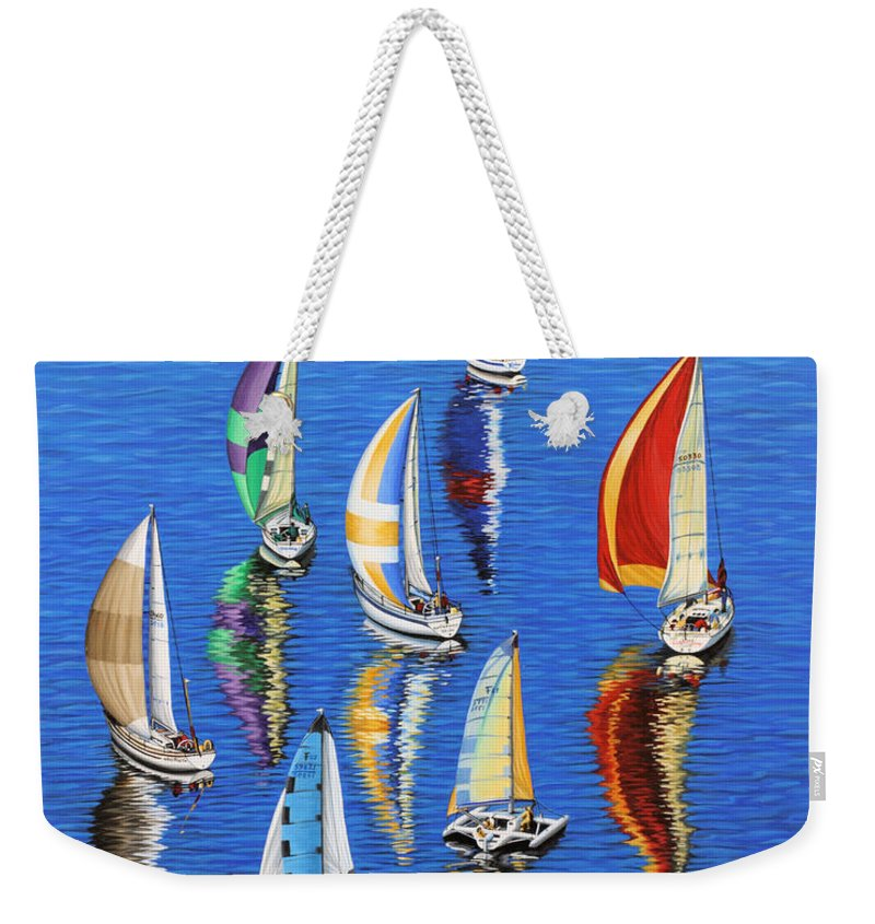 Ocean Weekender Tote Bag featuring the painting Morning Reflections by Jane Girardot
