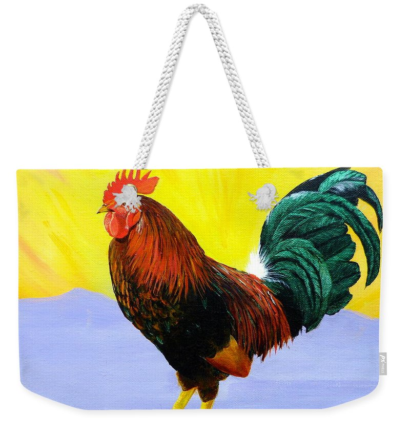 Rooster Weekender Tote Bag featuring the painting Morning Serenade by Alicia Fowler