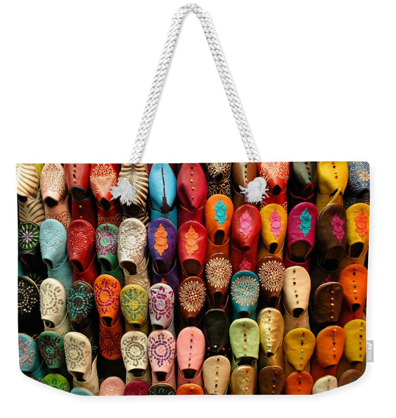 Babouches Weekender Tote Bag featuring the photograph Moroccan Babouches Old Medina Marrakesh Morocco by Ralph A Ledergerber-Photography