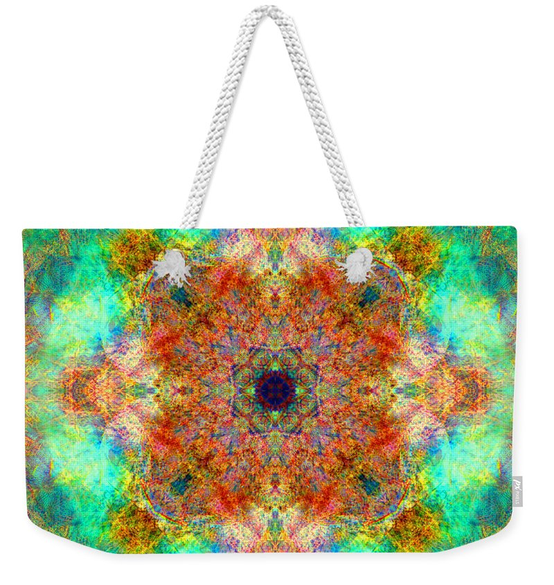 Rainbow Weekender Tote Bag featuring the photograph Moroccan Sun Mandala by Susan Bloom