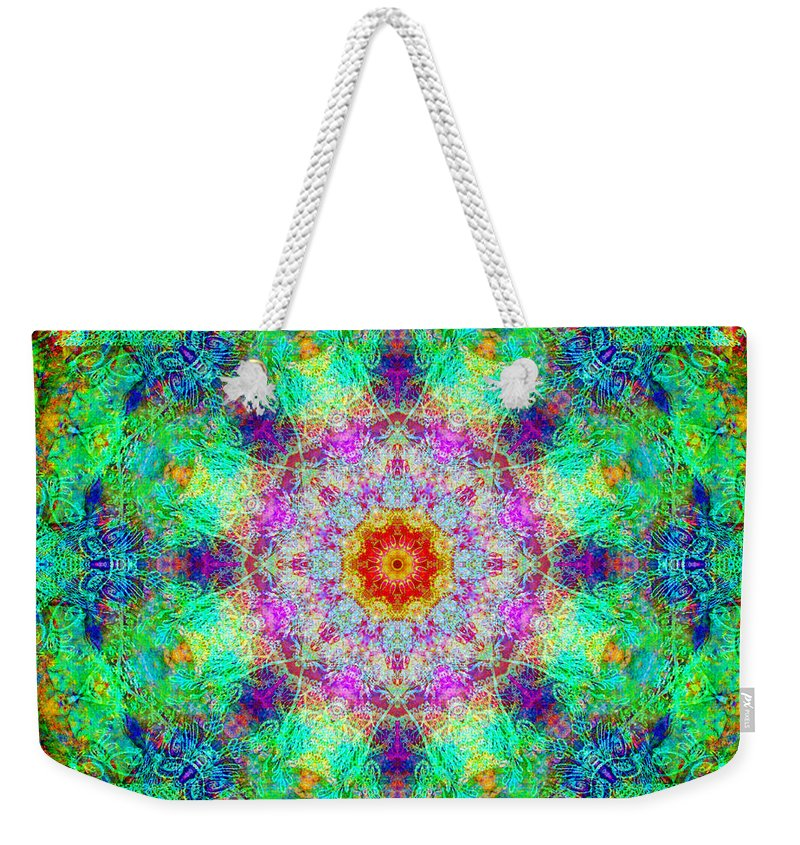 Rainbow Weekender Tote Bag featuring the photograph Moroccan Lace Mandala by Susan Bloom