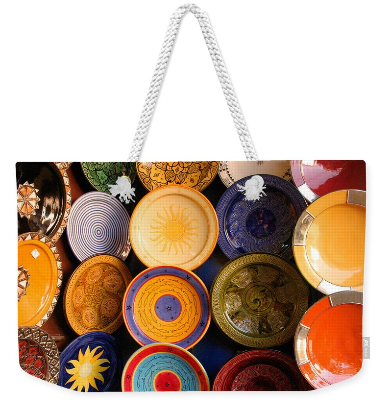 Morocco Weekender Tote Bag featuring the photograph Moroccan Pottery On Display For Sale by Ralph A Ledergerber-Photography