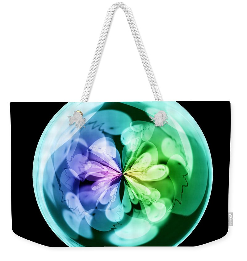 Wall Art Weekender Tote Bag featuring the digital art Morphed Art Globes 18 by Rhonda Barrett