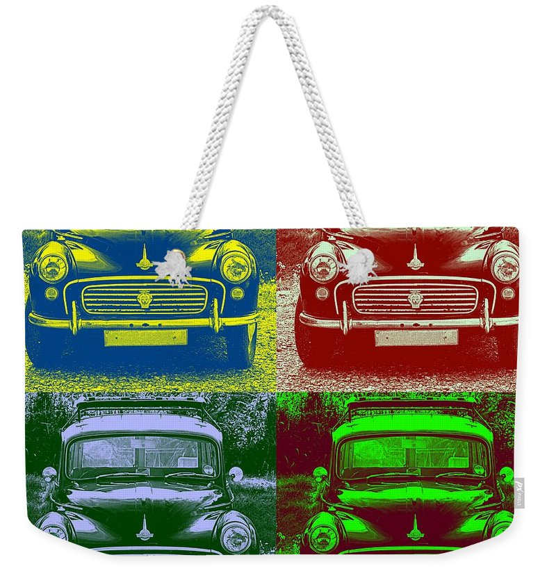 Car Weekender Tote Bag featuring the photograph Morris Car In Pop Art by Chevy Fleet