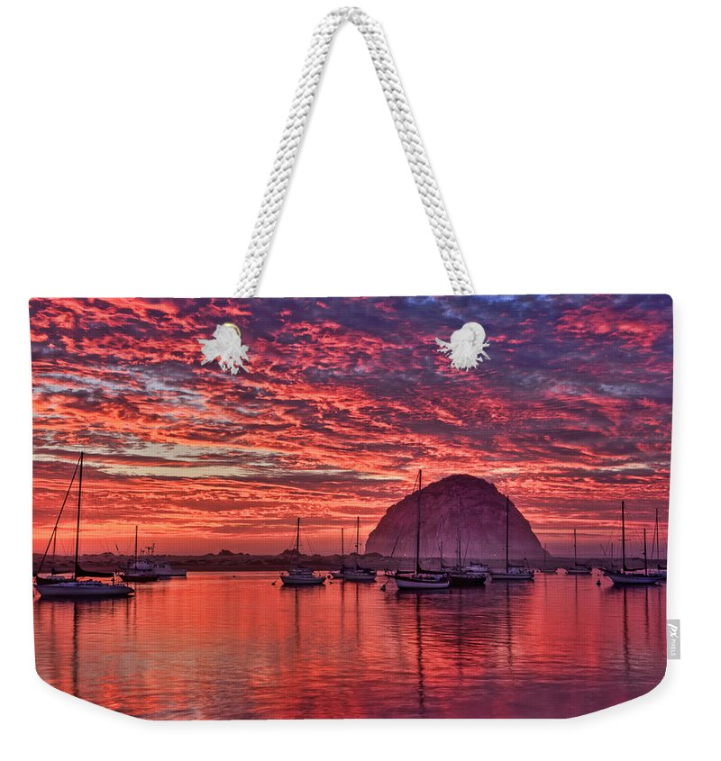 Beach Weekender Tote Bag featuring the photograph Morro Bay On Fire by Beth Sargent